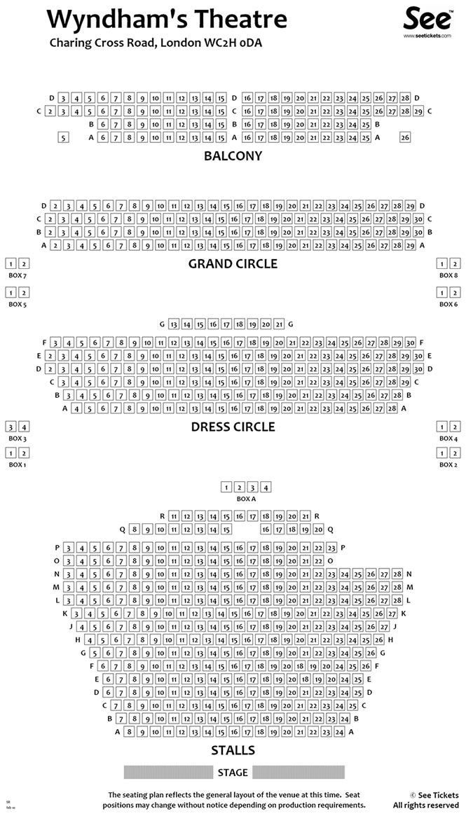 Wyndhams Theatre Seating Plan. Wyndhams Theatre